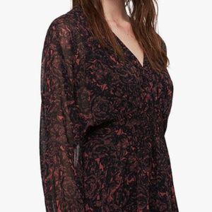 AllSaints Nichola Rosey Dress, Berry Red/Multi M